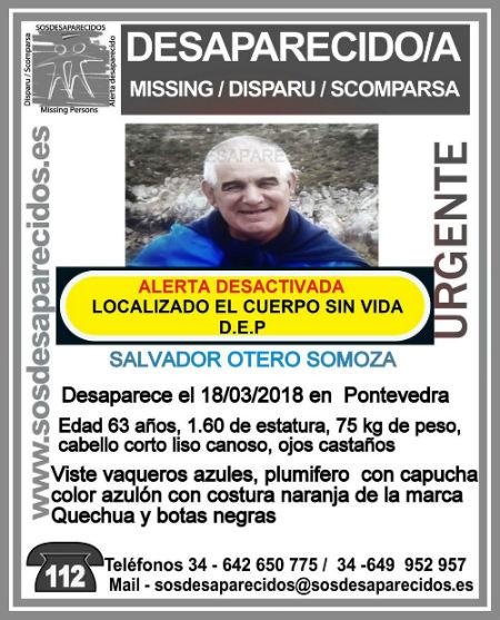 Hallado el cuerpo sin vida del vecino de Pontevedra que había desaparecido el domingo
