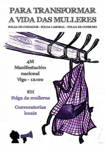 """Asemblea Galegas 8M convoca a marcha deste domingo en Vigo """"para amosar a nosa forza e a capacidade de espallar a loita feminista"""""""