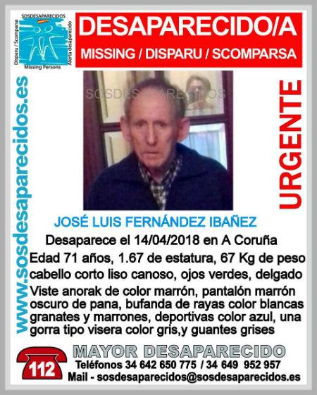 Sigue la búsqueda de José Luis Fernández, de 71 años de edad, desaparecido desde el pasado sábado