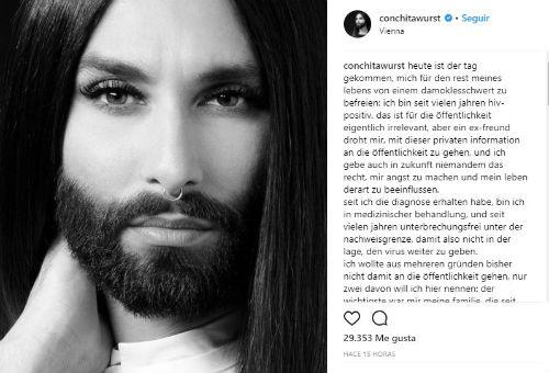 Conchita Wurst anuncia que es portadora del VIH