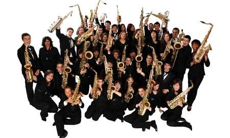 A Orquestra de Saxos do Conservatorio de Redondela.