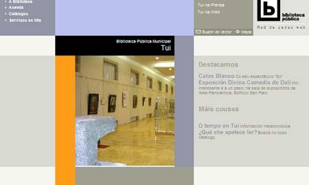 A web da Biblioteca Municipal de Tui.
