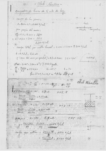 Cálculos originales de Castro para realización del edificio del Náutico