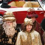 Sus Majestades, acompañados de la Cartera Real y uno de los pajes de Gaspar