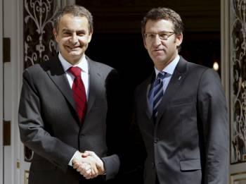 Zapatero y Feijóo en el único encuetro que han mantenido en La Moncloa