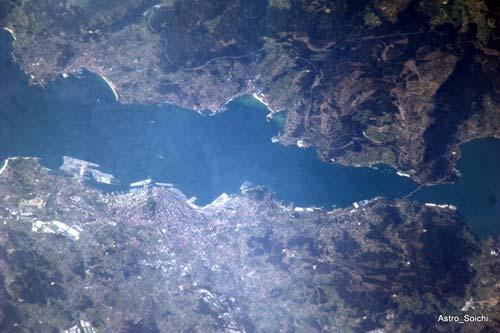 La imagen que Soichi Noguchi ha sacado de Vigo desde la Estación Espacial.