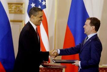 Obama y Medvedev