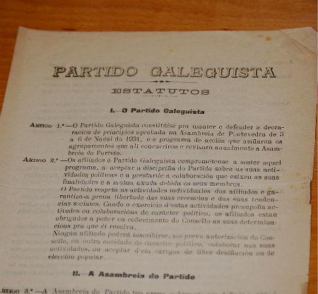 Estatutos de constitución do Partido Galeguista/Tresyuno Comunicación