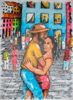 A pintura 'Bailando no Pelourinho'.