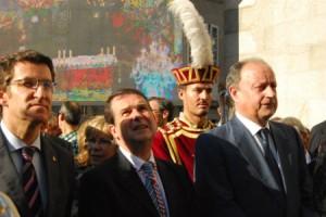 Presidente Feijóo, alcalde Caballero y delegado Louro/Tresyuno Comunicación