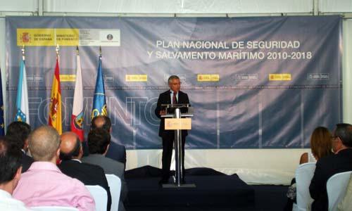 El ministro de Fomento, José Blanco, durante la presentación en Samil.