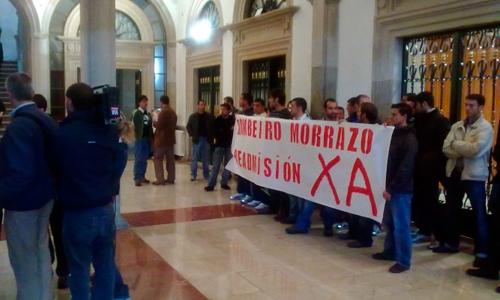 Unha das protestas dos compañeiros de Rubén Fraga.