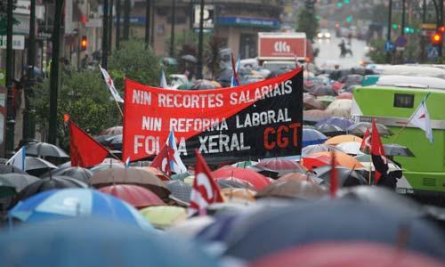 Unhas das últimas manifestacións polas reformas laborais en España.