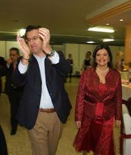La candidata con el presidente Feijóo en un acto