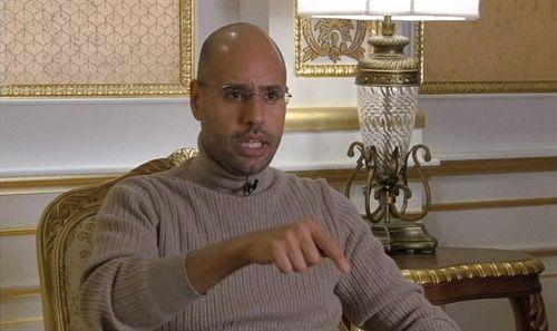 Saif el Islam, hijo de Gadafi, en una entrevista en televisión.