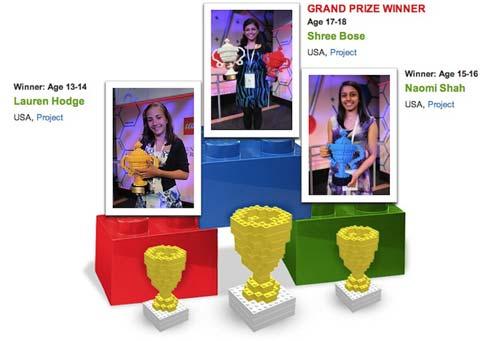 El premio incluía un trofeo hecho con piezas de Lego.