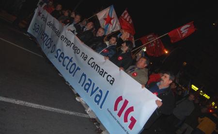 Cabeceira da manifestación que percorreu este xoves o centro de Vigo