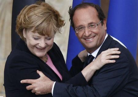 La canciller Merkel y el presidente Hollande