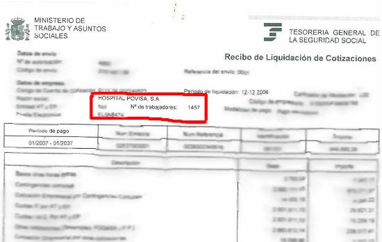 Documento enviado por el Comité de Persoal de Povisa