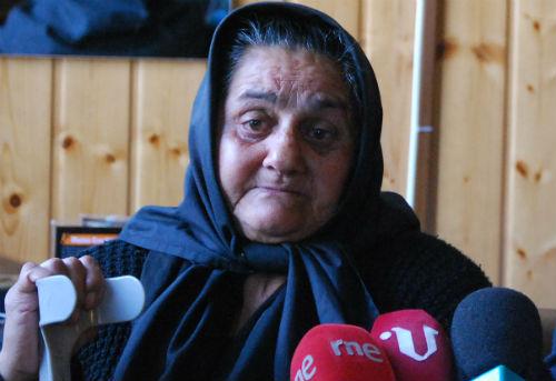 Doña Dolores, la abuela de Nerea, este miércoles durante una rueda de prensa, en Vigo/Tresyuno Comunicación