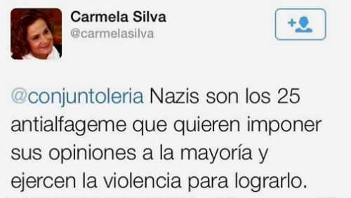 Comentario de Carmela Silva en Twitter/Foto remitida pola Asemblea aberta de Coia