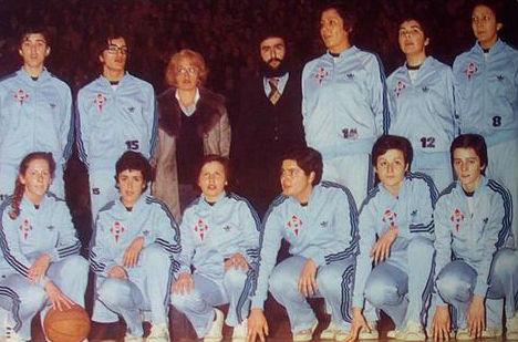 Equipo del Celta que ganó 5 ligas de baloncesto y 4 copas de la Reina. Carmen Martínez es la primera de la fila superior, empezando por la izquierda