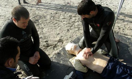 Socorristas de Vigo en un entrenamiento/Tresyuno Comunicación