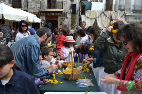 Los participantes en los Maios, este domingo en la Praza da Constitución/Tresyuno Comunicación