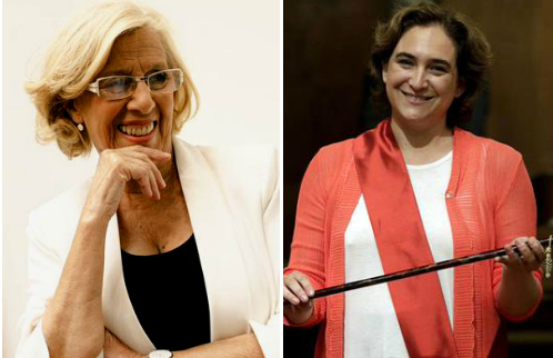 Manuel Carmena, alcaldesa de Madrid, y Ada Colau, alcaldesa de Barcelona