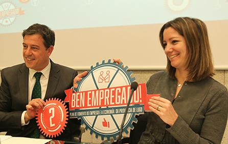 Gómez Besteiro, secretario xeral de los socialistas de Galicia, y presidente de la Diputación de Lugo, con la posible nueva alcaldesa de la capital, Lara Méndez/Foto: Deputación de Lugo