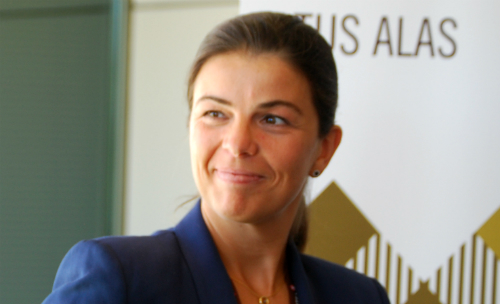 Gloria Carreras, directora de marketing de Volotea, este jueves en Peinador/Tresyuno Comunicación