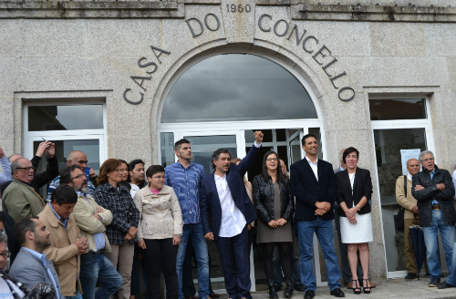 Foto: Tresyuno Comunicación// Momento do Himno Galego