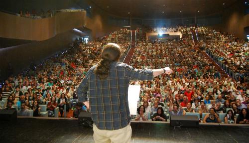 Pablo Iglesias, este sábado, durante el acto de Podemos en el Auditorio Mar de Vigo