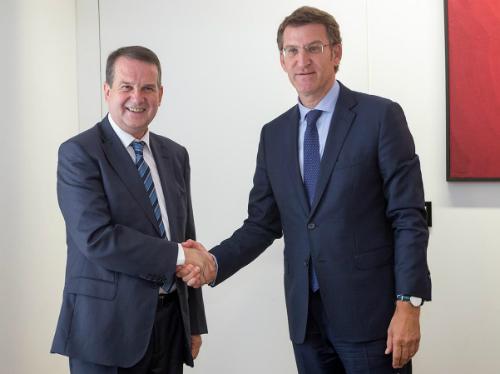 Abel Caballero y el presidente Feijóo, este lunes en Santiago