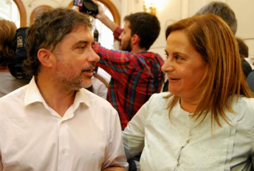 El alcalde de As Neves, Xosé Rodríguez Méndez, con la nueva presidenta/Tresyuno Comunicación