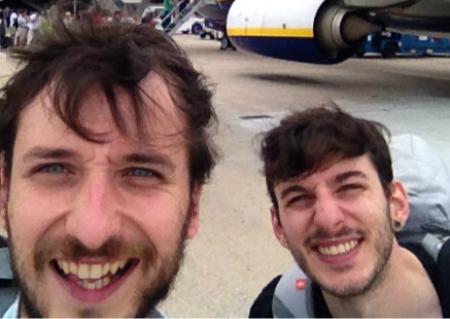 Felipe Carnoto y Cristian López, antes de salir hacia Macedonia