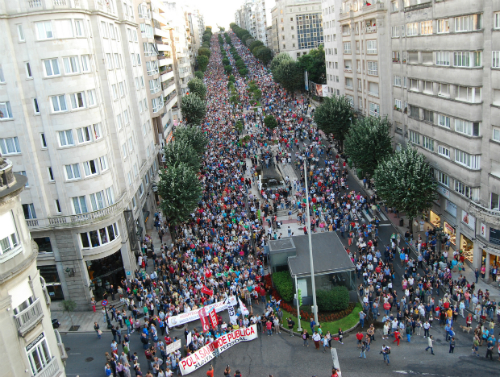 Un momento da manifestación de onte en Vigo na que participaron 200.00 persoas/Tresyuno Comunicación