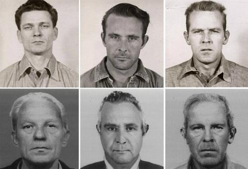 Frank Morris y los hermanos Englin, los únicos presos que se han fugado de Alcatraz: su aspecto en 1962 y el que podrían tener en la actualidad