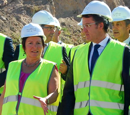 Le ex conselleira Rocío Mosquera y el presidente Feijóo, en una visita a las obras del Hospital Álvaro Cunqueiro/Tresyuno Comunicación