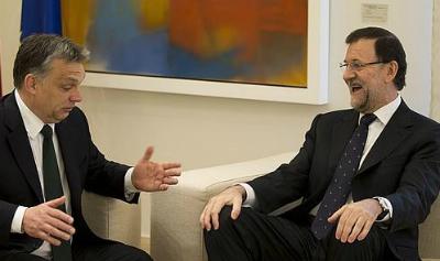 El primer ministro húngaro, Viktor Orban, y el presidente Rajoy