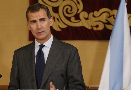 El Jefe del Estado, dando un discurso en Galicia