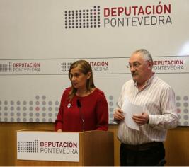 La presidenta de la Diputación, Carmela Silva, con el vicepresidente de la institución provincial, este viernes