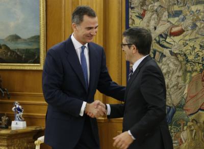Felipe VI y Patxi López, presidente del Congreso y de las Cortes, en La Zarzuela