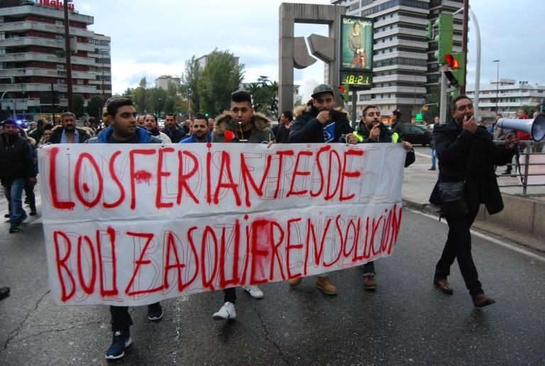 Feriantes en una manifestación en As Travesas (Archivo)/vigoalminuto.com
