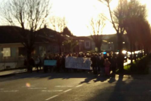 Un momento de la manifestación de los vendedores ambulantes, este miércoles en Vigo