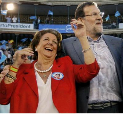 La ex alcaldea de Valencia, Rita Barberá, y el presidente del Gobierno en funciones, Mariano Rajoy