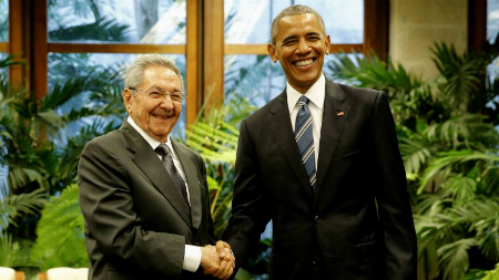 Raúl Castro y Obama este lunes en el Palacio de la Revolución de La Habana