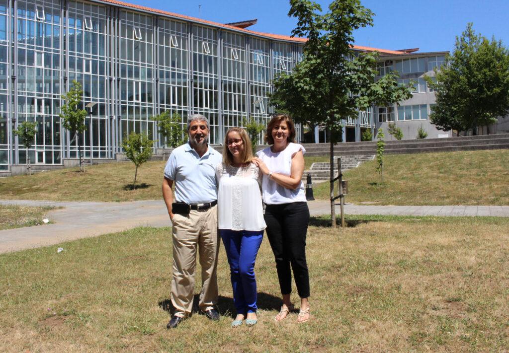 Sonia BLanco cos profesores María Páez de la Cadena Tortosa e Francisco Javier Rodríguez Berrocal