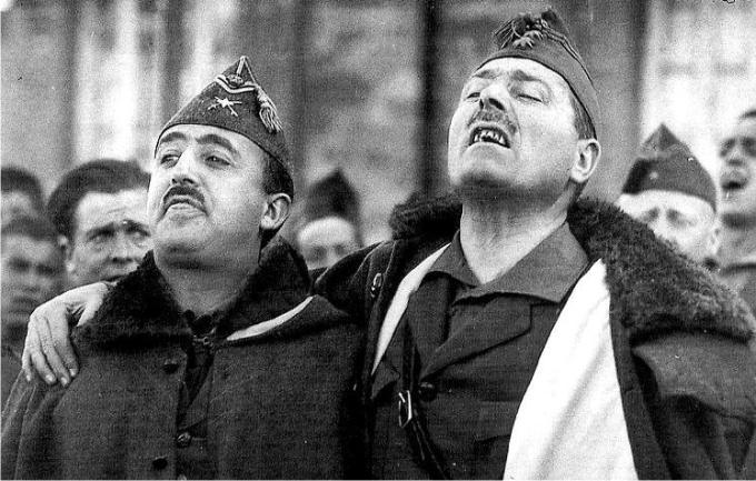 El dictador Francisco Franco y el general golpista Millán Astray
