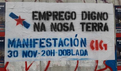 Cartaz convocando á manifestación/Foto:vigoalminuto.com